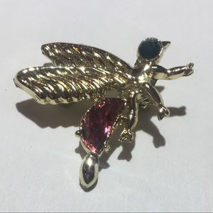 Vintage gold stone fly bug brooch pin